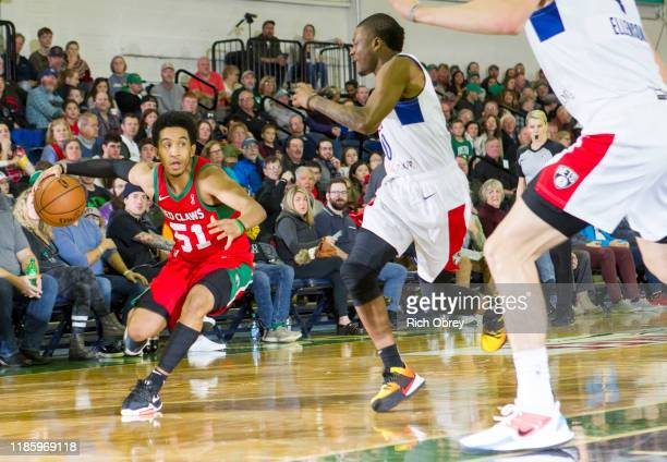 Tremont Waters of the Maine Red Claws drives against the Long Island Nets on Saturday December 1 2019 at the Portland Expo in Portland Maine NOTE TO...