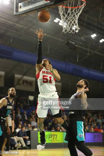 Tremont Waters of the Maine Red Claws goes for the layup against the Greensboro Swarm at The Fieldhouse on November 27 2019 in Greensboro North...