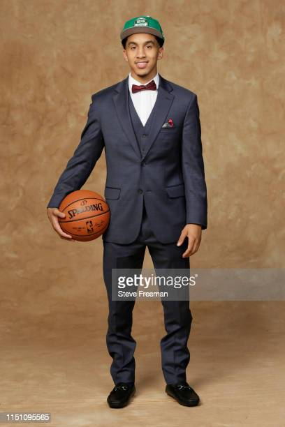 Tremont Waters poses for a portrait after being drafted by the Boston Celtics at the 2019 NBA Draft on June 20 2019 at Barclays Center in Brooklyn...
