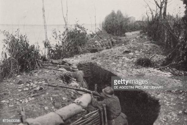 Trench on the river Piave Italy World War I from l'Illustrazione Italiana Year XLV No 17 April 28 1918