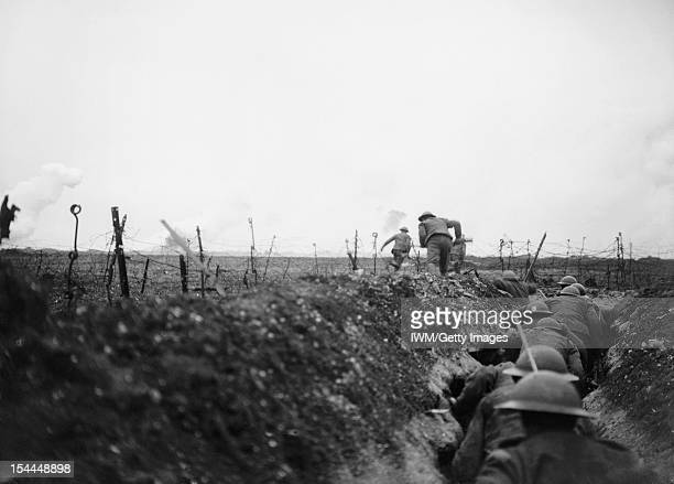 Trench Warfare On The Western Front During The First World War A raiding party from the 9th Battalion Scottish Rifles leaving a sap and making for...