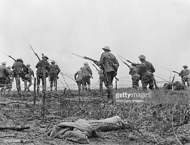Trench Warfare On The Western Front During The First World War, Still from the British film 'The Battle of the Somme'. The image is part of a...