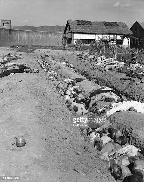 Trenches are filled with dead civilians, apparently massacred by retreating Communist troops.