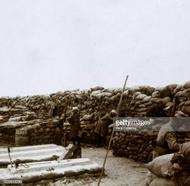 Trenches at Mamelon Vert Nieuwpoort Flanders Belgium circa 1914circa 1918 Photograph from a series of glass plate stereoview images depicting scenes...