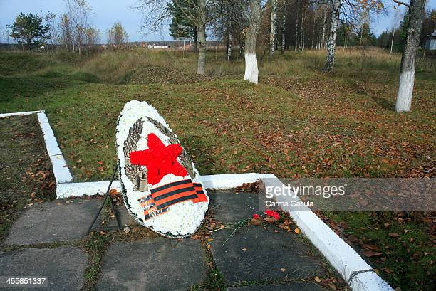 Trenches Nevsky pyatachok of the The Road of Life. Kirovsk, Leningrad region. Russia Federation. October 2013