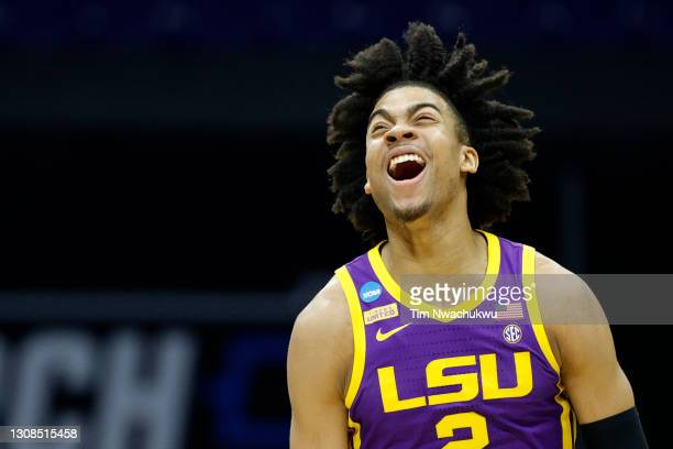 Trendon Watford of the LSU Tigers reacts to a play against the Michigan Wolverines in the second round game of the 2021 NCAA Men's Basketball...