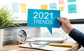 Trends of 2021 concepts with text and business person