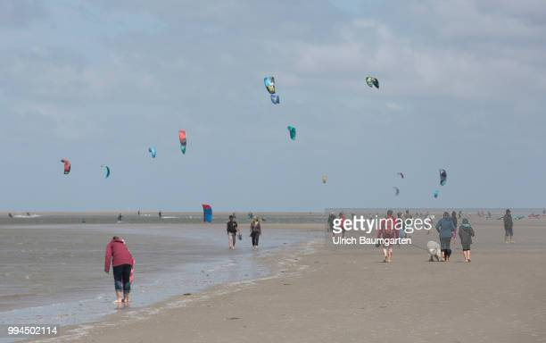 Trendsport kite surfing on the North sea coast in St. Peter Ording and the concerns about the habitat of the birds on this strech of coast in the...
