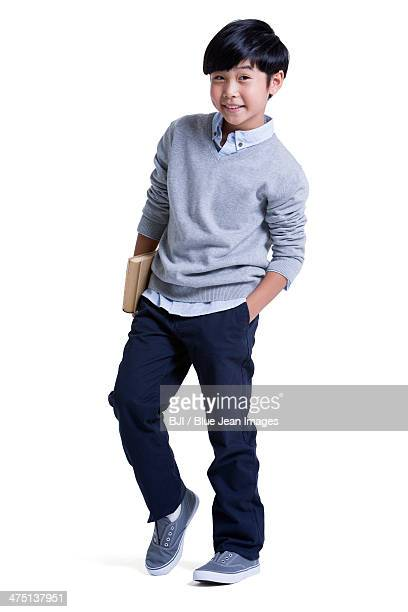Trendy boy with book