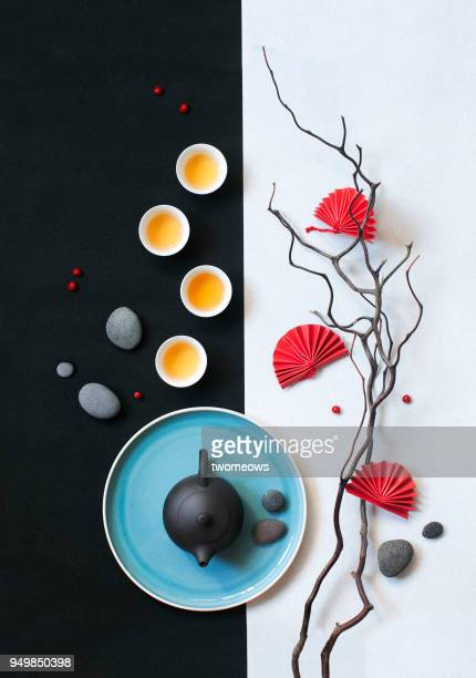 trendy east asian afternoon tea still life. - still life stock pictures, royalty-free photos & images