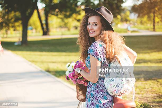 Trendy Hipster Girl with Bike