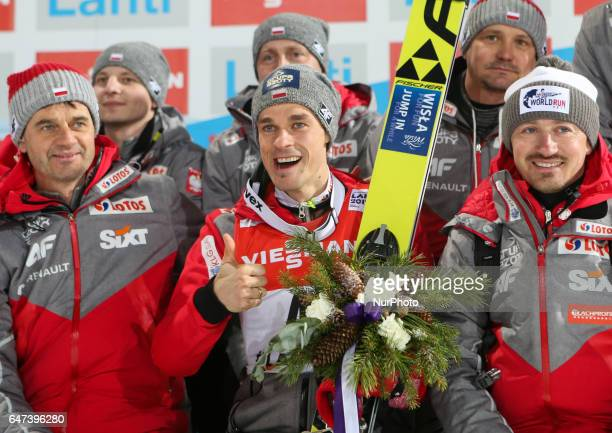 Trener Stefan Horngacher Piotr Zyla Adam Malyszduring the Men's Ski Jumping HS130 at the FIS Nordic World Ski Championships on March 2 2017 in Lahti...