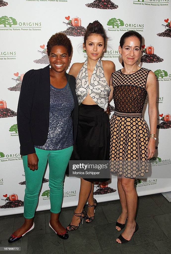 Trenesa Danuser, Nina Dobrev and Jane Lauder attend Origins 'GinZing' Launch Event at Origins 5th Avenue on May 3, 2013 in New York City.