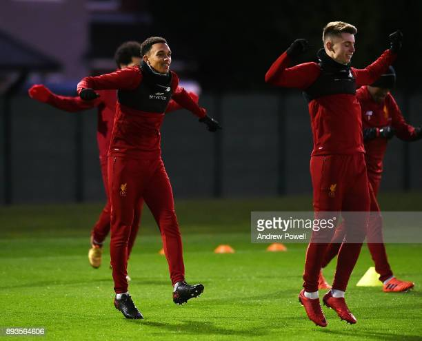 Trent AelxanderArnold and Ben Woodburn of Liverpool during a training session at Melwood Training Ground on December 15 2017 in Liverpool England