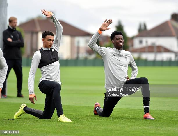 Trent AleanderArnold and Ovie Ejaria of Liverpool during a training session at Melwood Training Ground on September 12 2017 in Liverpool United...