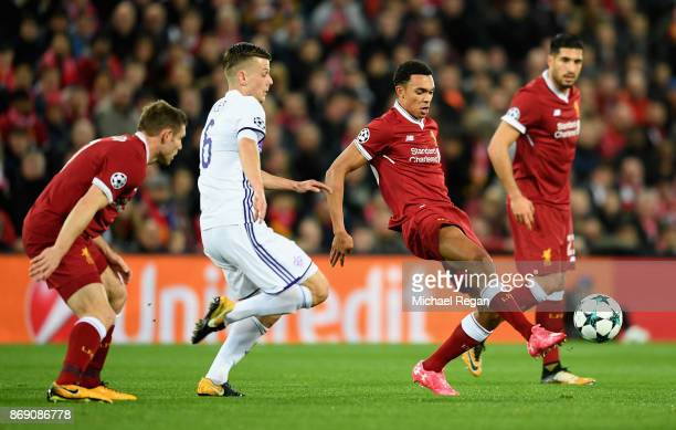 Trent Alex Arnold of Liverpool is put under pressure from Aleks Pihler of NK Maribor during the UEFA Champions League group E match between Liverpool...