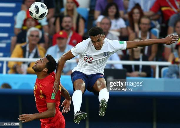 Trent Alexander Arnold of England in action against Moussa Dembele of Belgium during 2018 FIFA World Cup Russia Group G match between England and...