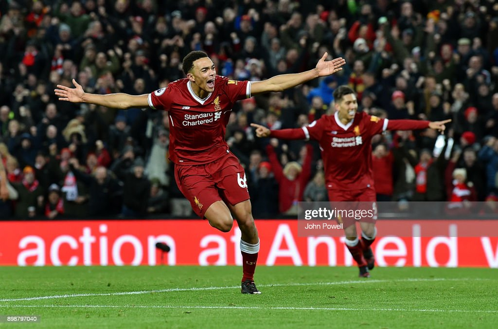 Trent Alexander- Arnold of Liverpool celebrates after scoring his team's fourth goal during the Premier League match between Liverpool and Swansea City at Anfield on December 26, 2017 in Liverpool, England.