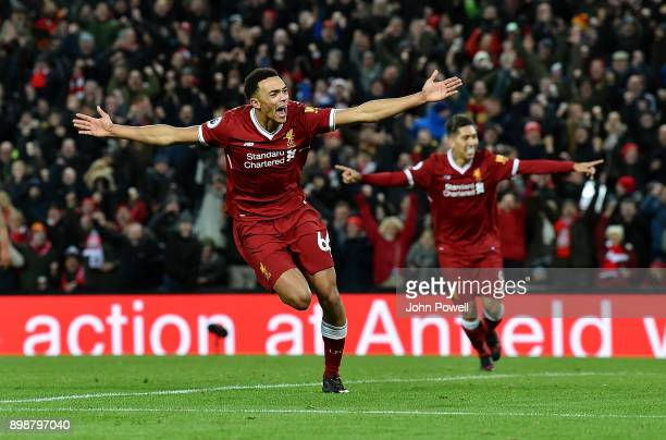 Trent Alexander Arnold of Liverpool celebrates after scoring his team's fourth goal during the Premier League match between Liverpool and Swansea...