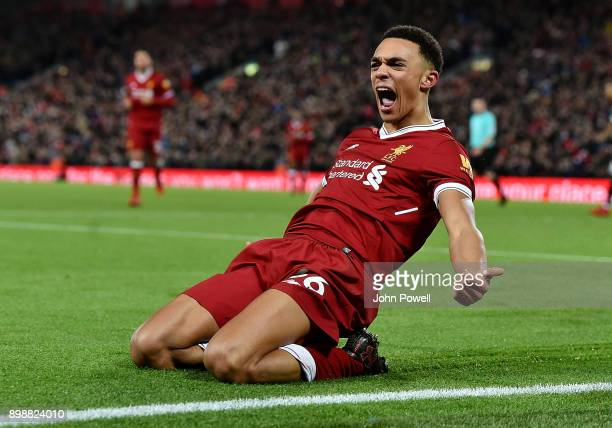 Trent Alexander Arnold of Liverpool celerbrates after scoring during the Premier League match between Liverpool and Swansea City at Anfield on...