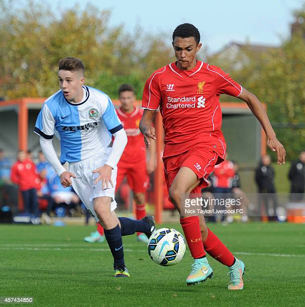 Trent Alexander of Liverpool and George Pierce of Blackburn Rovers in action during the Barclays Premier League Under 18 fixture between Liverpool...