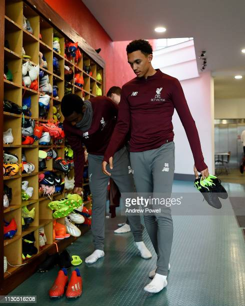 Trent AlexanderAnrold of Liverpool during a training session at Melwood training ground on February 18 2019 in Liverpool England