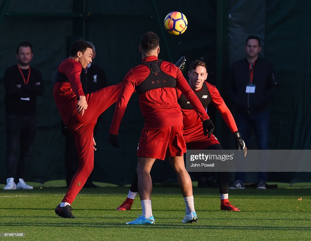 Trent Alexander-Arnold and Danny Ward of Liverpool during a training session at Melwood Training Ground on November 16, 2017 in Liverpool, England.