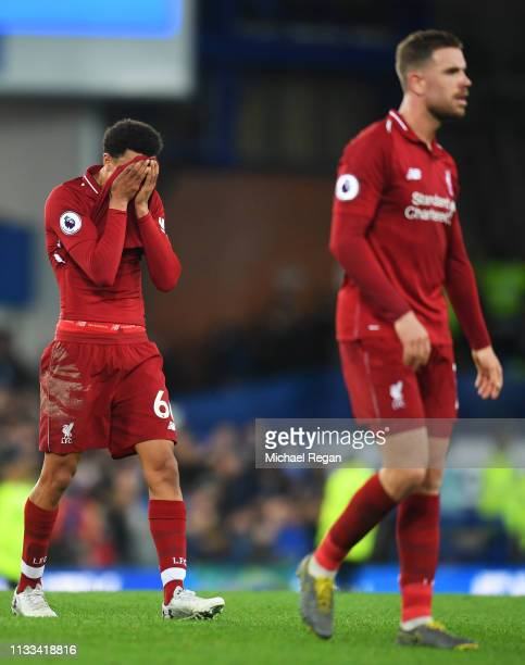 Trent AlexanderArnold and liof Liverpool looks despondent after the Premier League match between Everton FC and Liverpool FC at Goodison Park on...