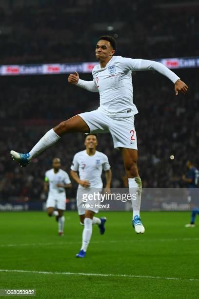Trent AlexanderArnold celebrates after scoring during the International Friendly match between England and United States at Wembley Stadium on...