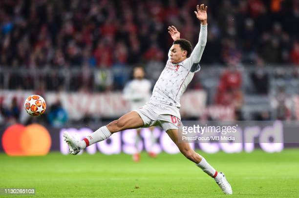 Trent AlexanderArnold controls the ball during the UEFA Champions League Round of 16 Second Leg match between FC Bayern Muenchen and Liverpool at...