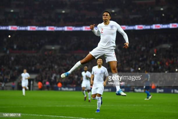Trent AlexanderArnold of England celebrates after scoring his team's second goal during the International Friendly match between England and United...