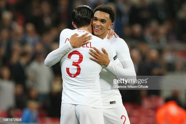 Trent AlexanderArnold of England celebrates scoring their 2nd goal during the International Friendly match between England and United States at...
