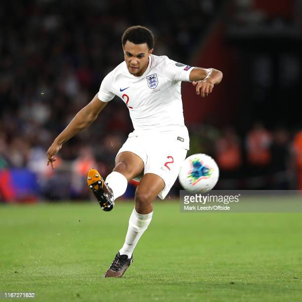 Trent AlexanderArnold of England during the UEFA Euro 2020 qualifier match between England and Kosovo at St Mary's Stadium on September 10 2019 in...