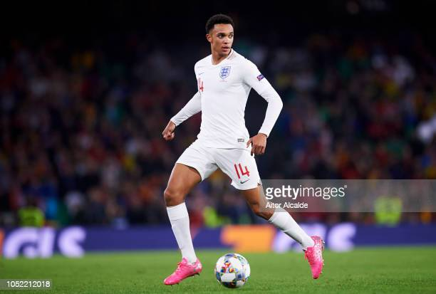 Trent AlexanderArnold of England in action during the UEFA Nations League A Group Four match between Spain and England at Estadio Benito Villamarin...