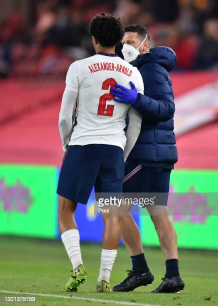 Trent Alexander-Arnold of England is substituted after picking up an injury during the international friendly match between England and Austria at...