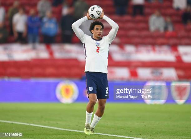 Trent Alexander-Arnold of England looks on as he takes a throw in during the international friendly match between England and Austria at Riverside...