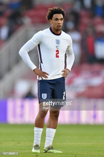 Trent Alexander-Arnold of England looks on during the international friendly match between England and Austria at Riverside Stadium on June 02, 2021...