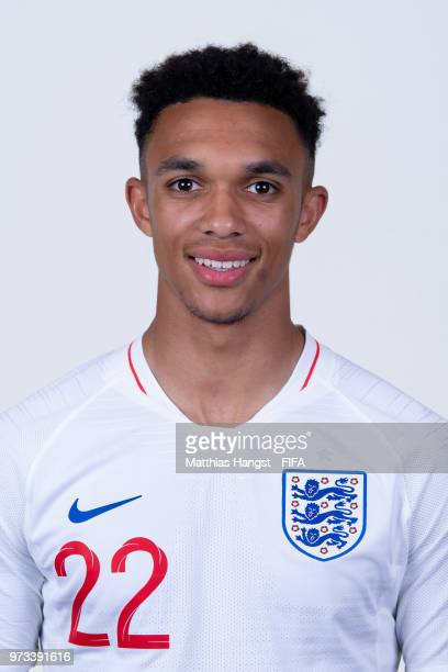 Trent AlexanderArnold of England poses for a portrait during the official FIFA World Cup 2018 portrait session at on June 13 2018 in Saint Petersburg...