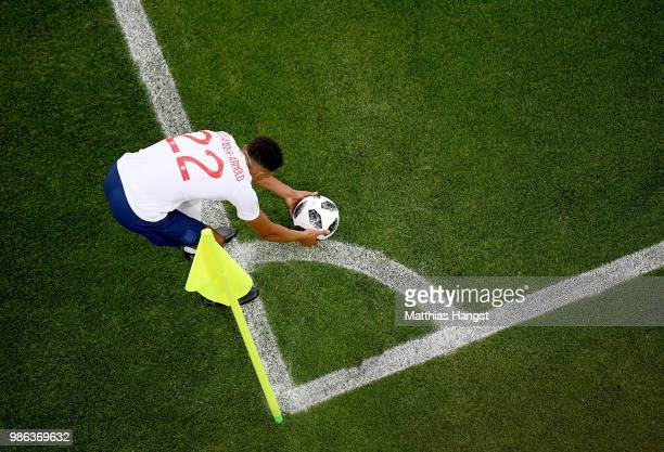 Trent Alexander-Arnold of England prepares to take a corner during the 2018 FIFA World Cup Russia group G match between England and Belgium at...