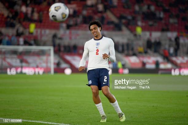 Trent Alexander-Arnold of England reacts during the international friendly match between England and Austria at Riverside Stadium on June 02, 2021 in...