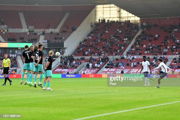 Trent Alexander-Arnold of England takes a free kick during the international friendly match between England and Austria at Riverside Stadium on June...