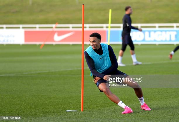 Trent AlexanderArnold of England trains during the England Training Session at St Georges Park on October 11 2018 in BurtonuponTrent England