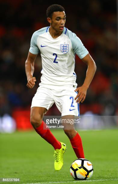 Trent AlexanderArnold of England U21 in action during the UEFA Under 21 Championship Qualifiers between England and Latvia at the Vitality Stadium on...