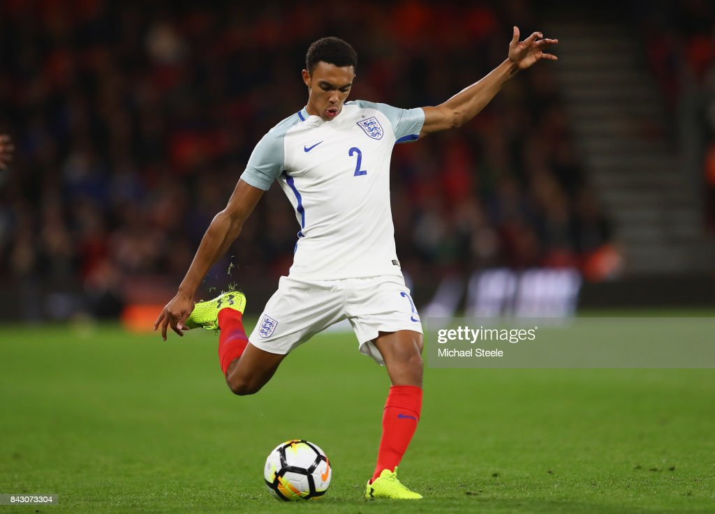 Trent Alexander-Arnold of England U21's during the UEFA Under 21 Championship Qualifier match between England and Latvia at the Vitality Stadium on September 5, 2017 in Bournemouth, England.