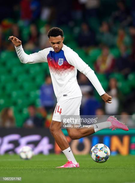 Trent AlexanderArnold of England warms up prior to the UEFA Nations League A group four match between Spain and England at Estadio Benito Villamarin...