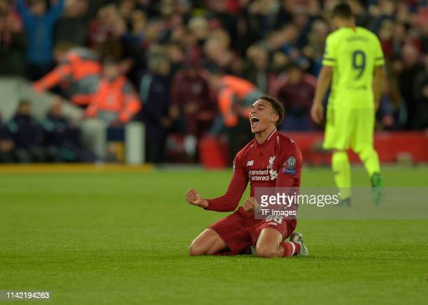 Trent AlexanderArnold of FC Liverpool celebrates after the UEFA Champions League Semi Final second leg match between Liverpool and Barcelona at...
