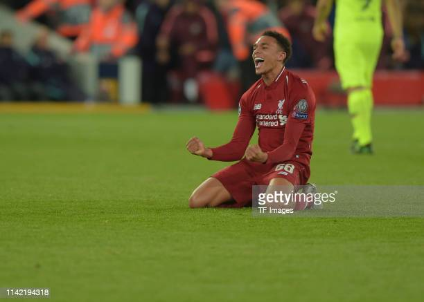 Trent AlexanderArnold of FC Liverpool celebrates during the UEFA Champions League Semi Final second leg match between Liverpool and Barcelona at...