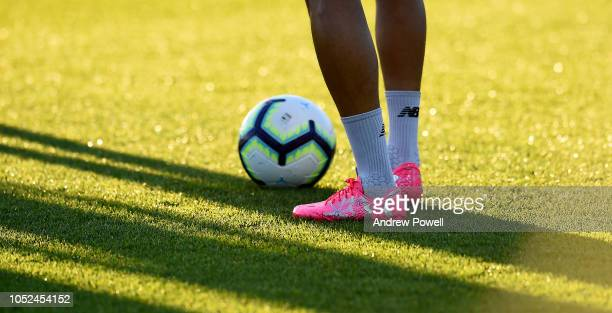 Trent AlexanderArnold of Liverpoo wearing pink bootsl during a training session at Melwood Training Ground on October 18 2018 in Liverpool England