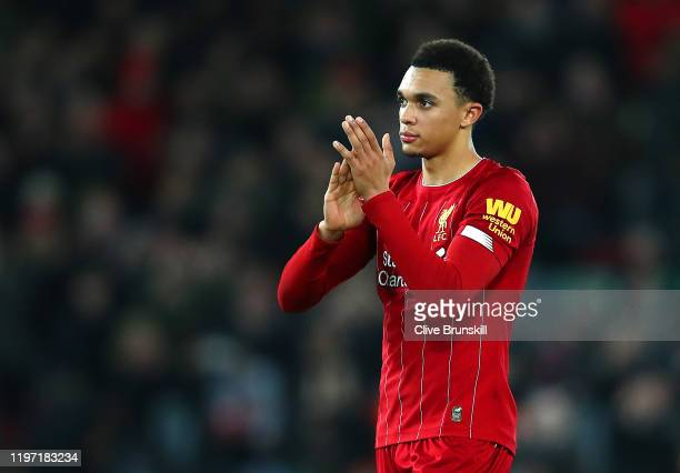 Trent Alexander-Arnold of Liverpool acknowledges the fans after the Premier League match between Liverpool FC and Sheffield United at Anfield on...