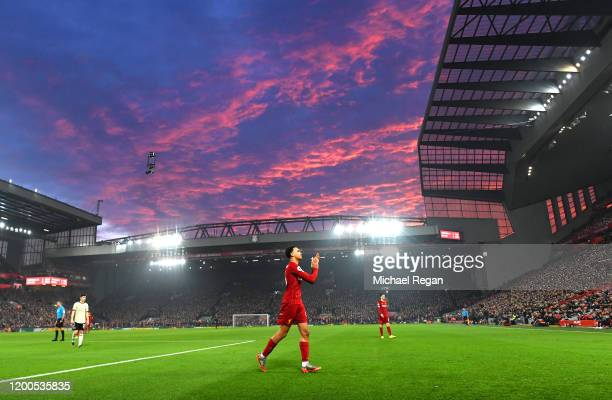 Trent AlexanderArnold of Liverpool acknowledges the fans during the Premier League match between Liverpool FC and Manchester United at Anfield on...